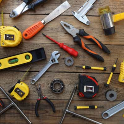 assorted tools on table